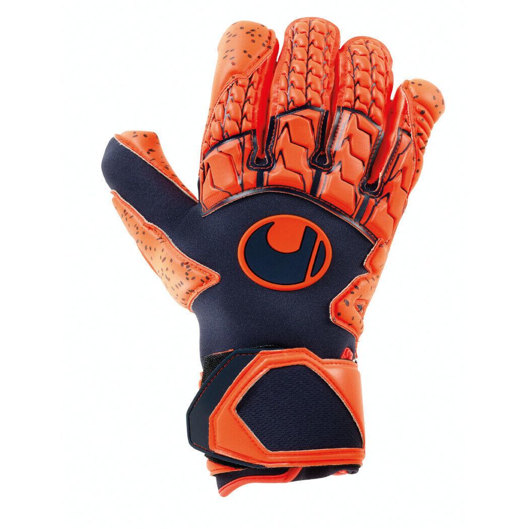 Uhlsport Next Level Supergrip HN Torwarthandschuhe dunkelblau Orange  | Feinbearbeitung