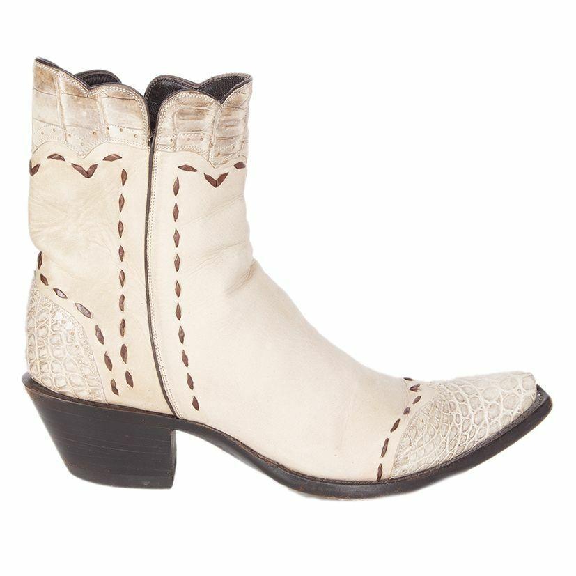 56465 Auth Semental blanquecino Cuero Y Cocodrilo botas de vaquero Zapatos 38
