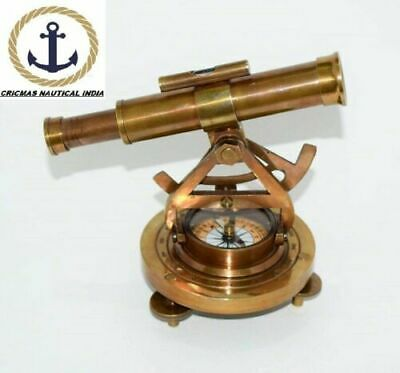 1Antique Brass Alidade Telescope Base Compass Nautical Collectible Gift