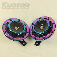 NEO CHROME LOUD BLAST TONE GRILL MOUNT 12V ELECTRIC COMPACT CAR HORN 335HZ/400HZ