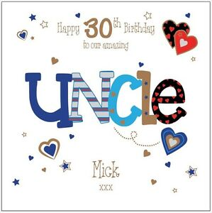 Image Is Loading Personalised 30th Birthday Card Uncle Husband Boyfriend Any
