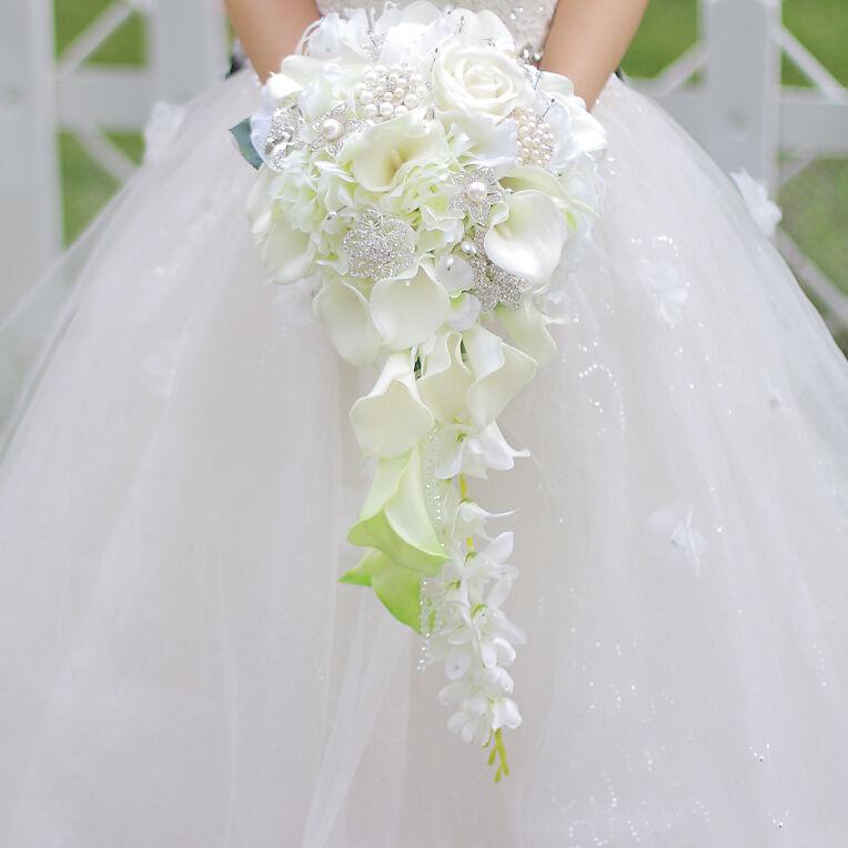 Big Calla Lily Perles Cascade Style Robe De Mariage Bouquet de mariée Fleur
