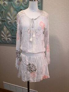Love-Stitch-BOHO-TUNIC-DRESS-Crochet-Floral-Print-Tassels-SIZE-M