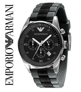EMPORIO-ARMANI-AR5866-MENS-CHRONOGRAPH-WATCH-BLACK-amp-GREY-BNIB-WITH-TAGS