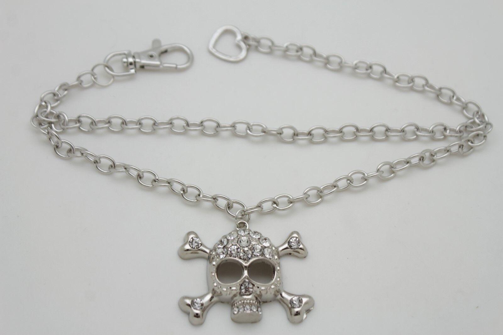 Women Boot Bracelet Chain Anklet Skeleton Skull Biker Gothic Fancy Shoe Charm