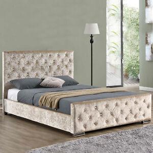 Gold Champagne Crushed Velvet Fabric Upholstered Bed Frame