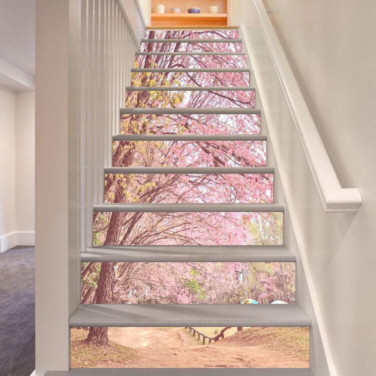 3D Flowering Trees Stair Risers Decoration Photo Mural Vinyl Decal Wallpaper AU