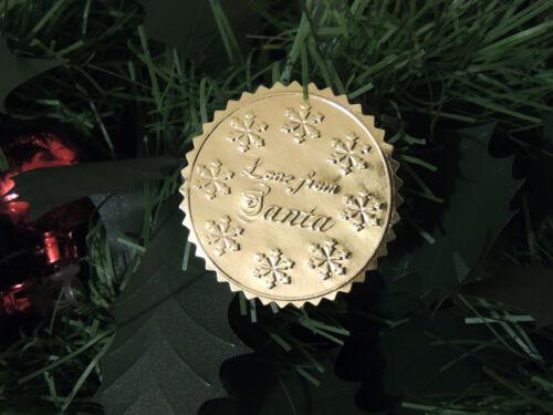 GOLD Christmas present label NORTH POLE Postmark Stamp Sticker GOLDEN TICKET tag