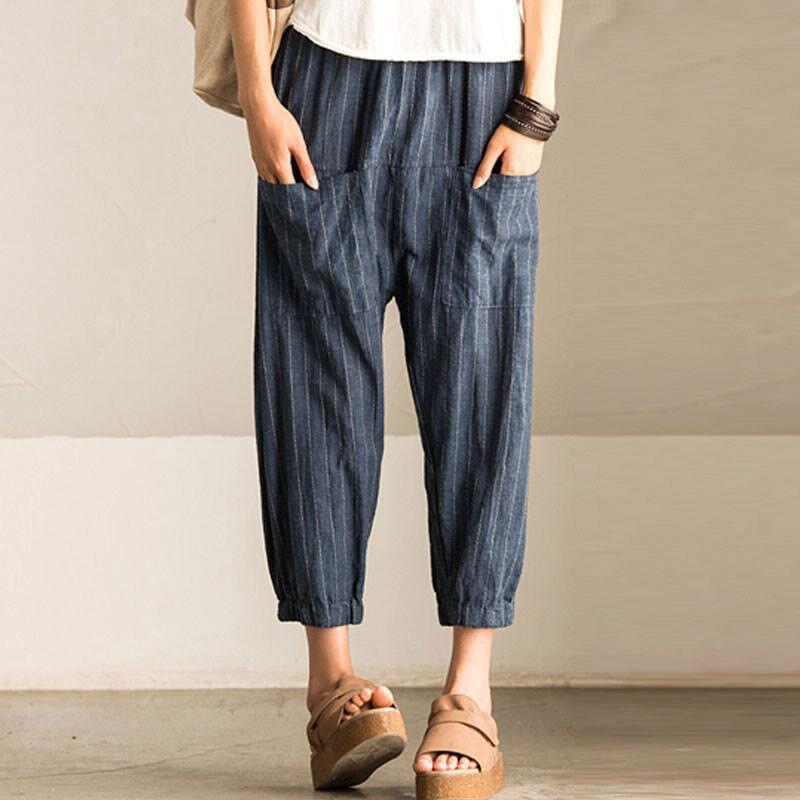 #6 Dunkelblau - Hohe Taille Baggy Hosen Übergröße