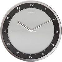 Seiko Wall Clock Quiet Sweep Second Hand Clock Black Metallic Case