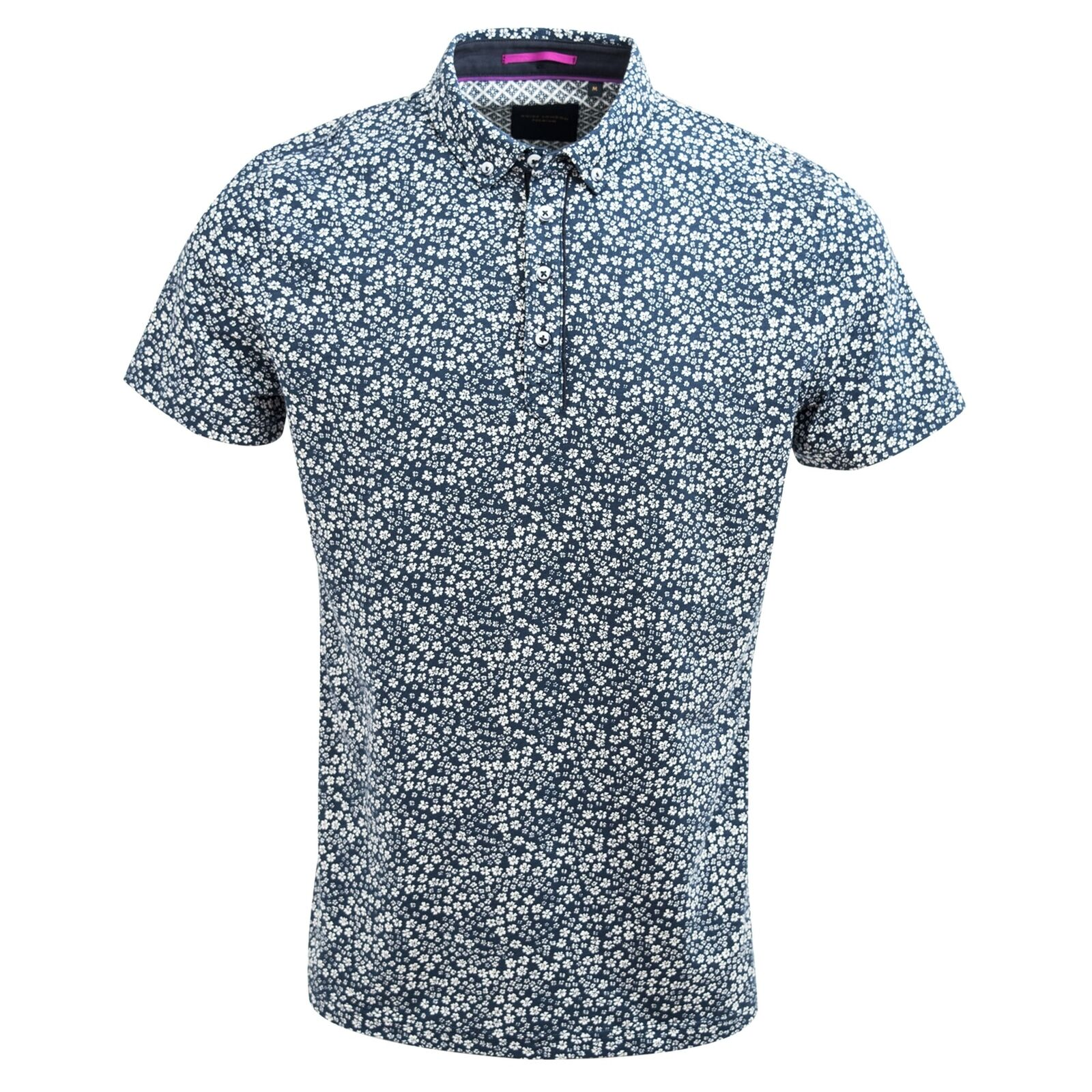 Guide London Navy Smart Small Flower Print Luxury Cotton Mens Polo T-Shirt