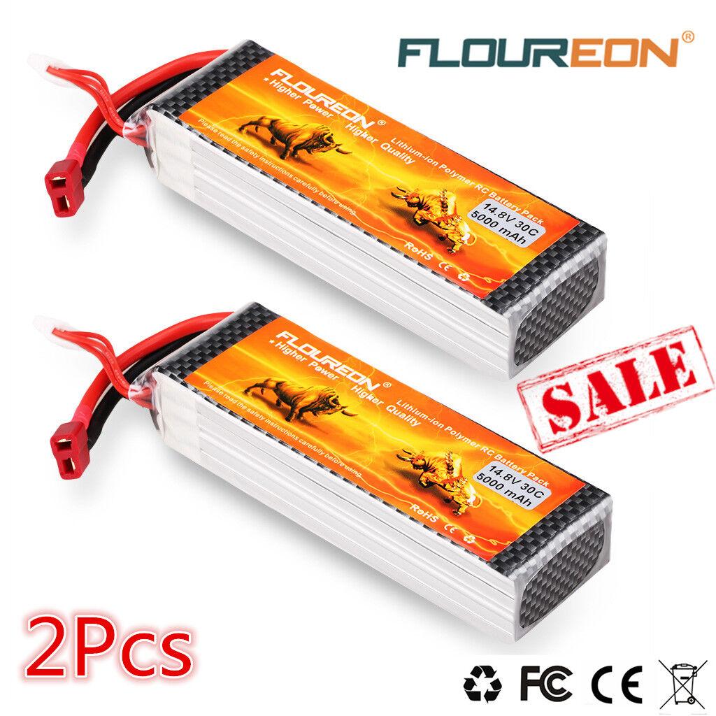 Batería 2x 4s 14.8v 5000mah 30c t Plug Lipo batería Pack for RC coche camión vehículos aéreos no tripulados Drone