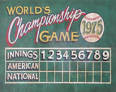 Baseball Scoreboard Print Vintage Style Art Mancave Sports Kids Room Decor Ebay