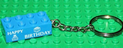 Lego Custom Printed Blue Brick 2x4 Keyring Happy Birthday NEW!!!!