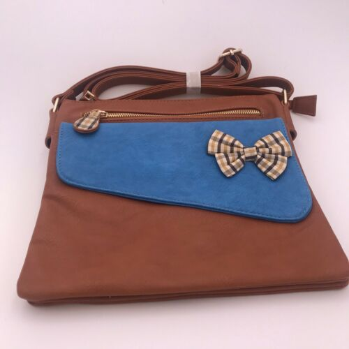 Dice CW Crossbody Brown Faux Leather Purse Front Bow Multiple Openings New