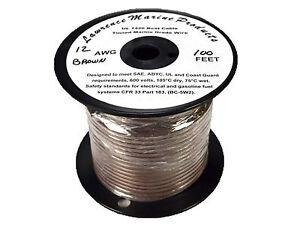 12 Gauge Tinned Marine Primary Wire / Brown / 100 Foot Reel