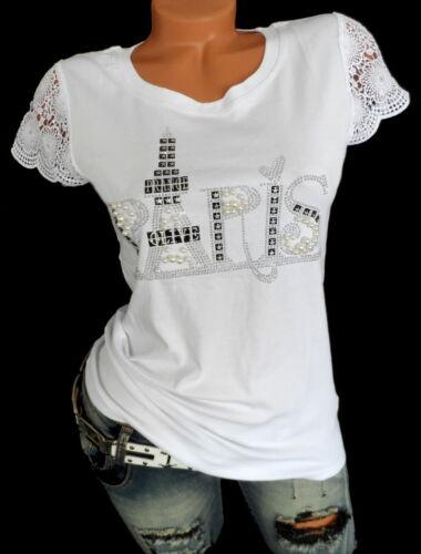 Damen Shirt Bluse Glitzer Strass Paris Print Häkelspitze Ärmel S M 36 38