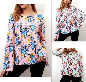 Camicia Autunno Manica Lunga Donna Floreale Woman Long Sleeve T-Shirt 541013 P