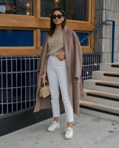 Zara Lana Cappotto Cintura VISONE Handmade Wool Belted Coat pockets Mink TORTORA M L