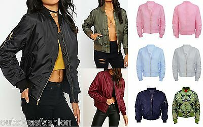 Womens Classic Bomber Jacket Vintage Zip Up Biker Stylish Padded Coat New