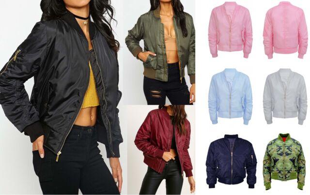 Womens Classic Bomber Jacket Vintage Zip Up Biker Stylish Padded Coat New