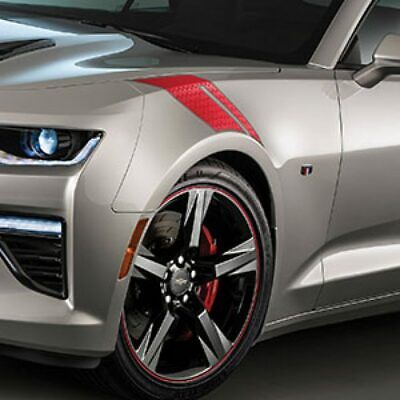 6Th Gen Camaro >> 2016 2017 2018 2019 6th Gen Chevrolet Camaro Oem Red Fender Decal Hash Stripes Ebay