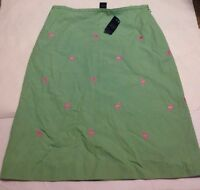 Brooks Brothers 346 Green Skirt With Embroidered Pink Flamingos Ladies 4