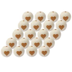 20pcs cuore stampato incompiuto di legno Perline in Legno Tondo per Artigianato fai da te 20mm