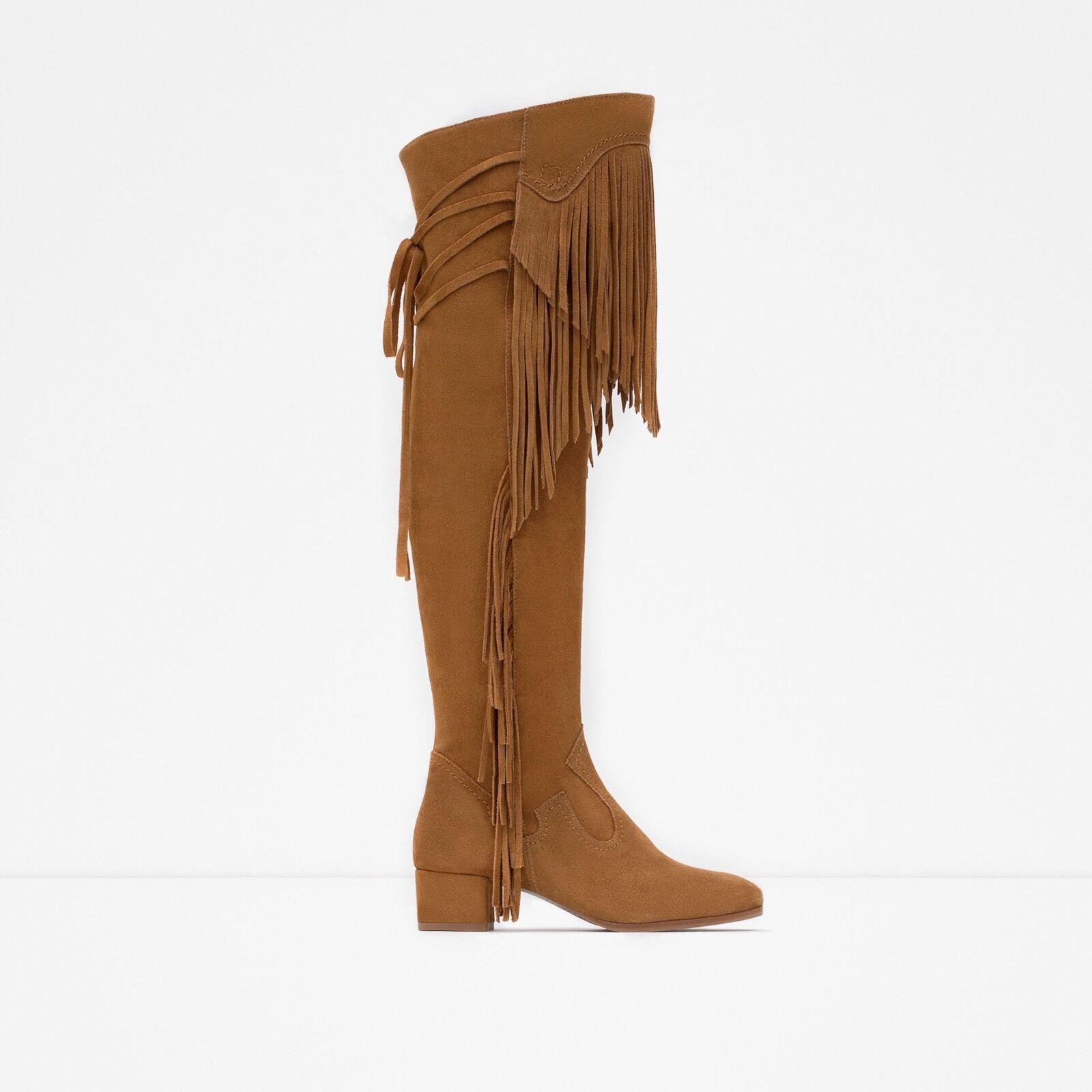 Zara Leder Stiefel With Fringe 6.5 Größe 6.5 Fringe 40aa79