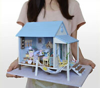 Wooden Handmade Dollhouse Miniature Diy Kit -beach House & Furniture X'mas Gift