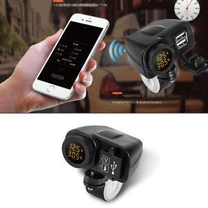 Universal-12V-ATV-Motorrad-USB-Ladegeraet-2-1A-Digital-Gelb-LED-Voltmeter-GPS-1x