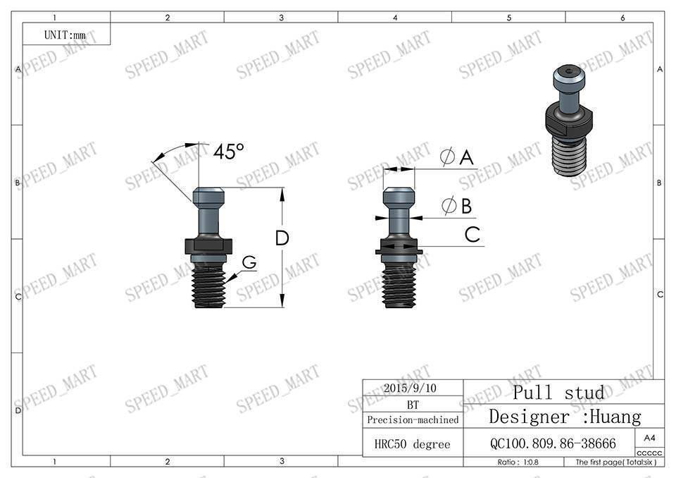 m12 bt30 x 45 degree pull stud retention knob for cnc