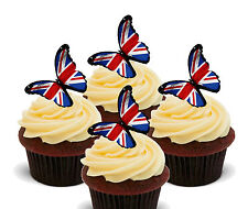 Union Jack Butterfly Edible Cupcake Toppers, Stand-up Fairy Cake Decorations