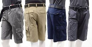 Men-039-s-Wear-First-Comfort-Flex-Waist-Free-Band-Belted-Work-Cargo-Shorts-W32-034-40-034
