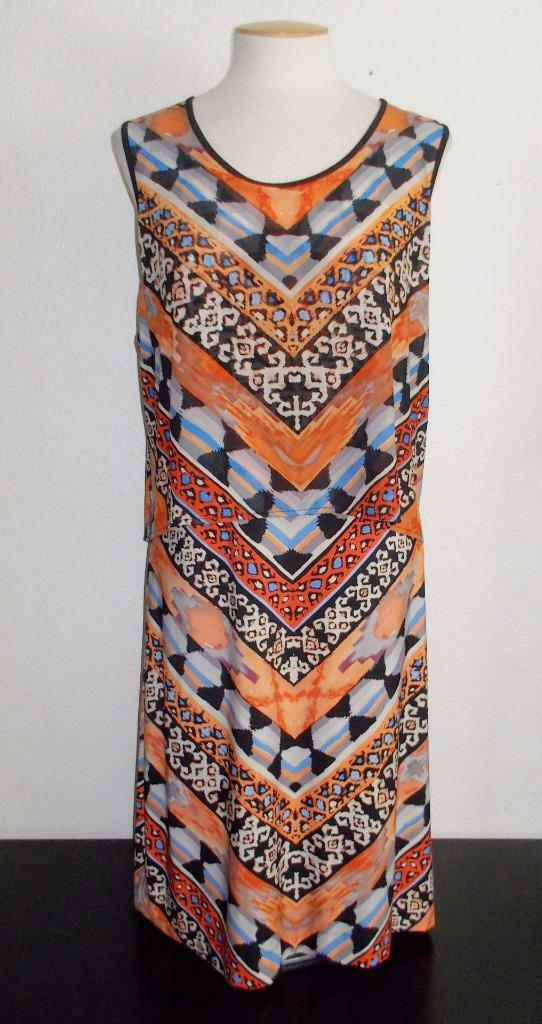 BEIGE BY ECI NEW YORK SZ LARGE MULTI-COLOR LAYER LOOK SLEEVELESS FASHION DRESS