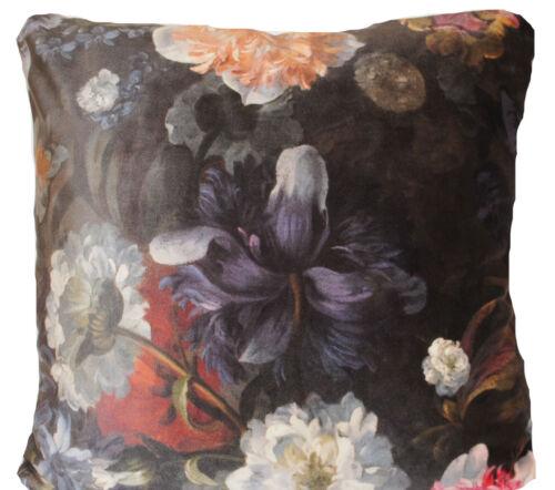 Italian Velvet Cushion Cover Floral Digital Printed Dark Black Taupe White Pink