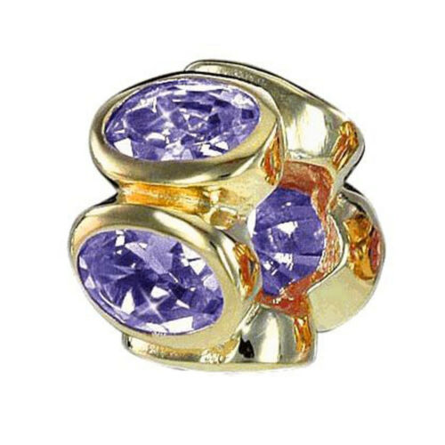 MATERIA Gold Beads Zirkonia Anhänger lila Rondelle 925 Silber für Beads Armband