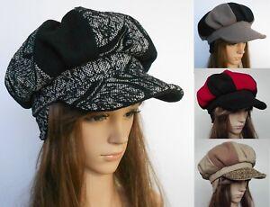 272942168ea9d New Ladies Patchwork Baker Boy Winter 100% Wool Ski Beanie Ear Warm ...