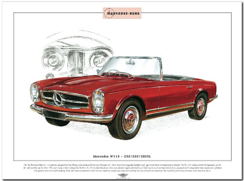 MERCEDES BENZ W113-230//250//280 SL  Fine Art Print A3 size German Convertible