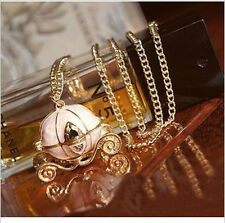 W Vintage Cinderella's Pumpkin Carriage Locket Pendant Chain Necklace Can Open