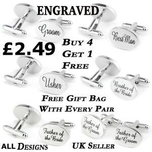 Engraved-Silver-Cufflinks-bag-Cuff-Link-Wedding-DAD-GROOM-BEST-MAN-CUFLINKS