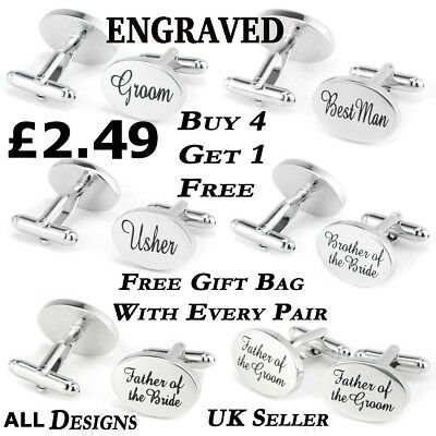 Personalized Silver /& Black Oval Cufflinks Engraved Free Cuff Links
