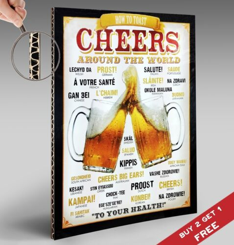 BEER CHEERS AROUND THE WORLD Retro Vintage SIGN Poster 297X210mm Bar Pub Decor