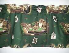 LINED VALANCE 42X12 DOGS PLAYING POKER CHIPS TABLE CARDS GAMBLING GAME ROOM