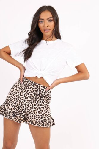 RRP £37.99 Leopard Print High Waist Frill Hem Shorts