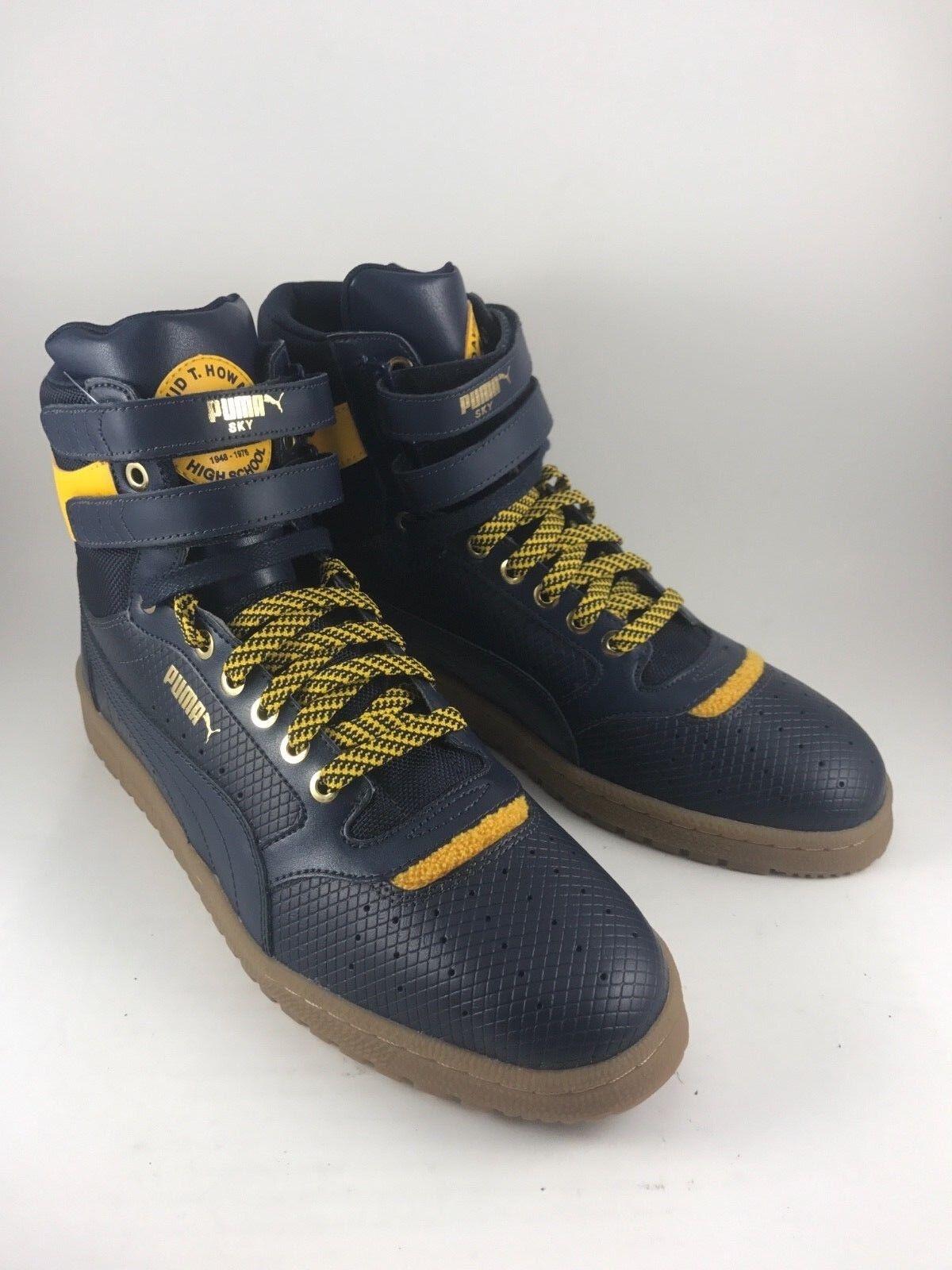 Puma Contact Contact Contact Sky David T Howard HighSchool Mens11.5 13 bluee Yellow HiTopSneakers 10e5bc