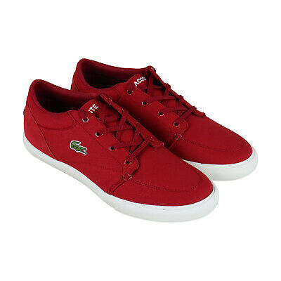 lacoste bayliss 219 1 cma mens red canvas low top lace up