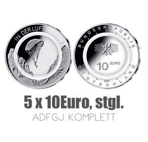 """DEUTSCHLAND 2019 ADFGJ- Satz aller 5 x 10€ in stgl. komplett """"In der Luft"""""""