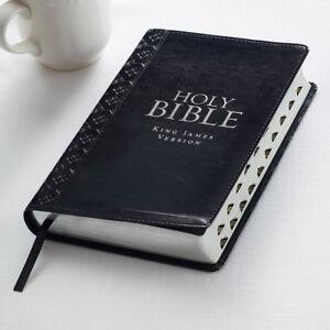Procura-Santa-Biblia-King-James-Version-Negro-Imitacion-Cuero-pulgar-indice-Carta-Roja-Nuevo