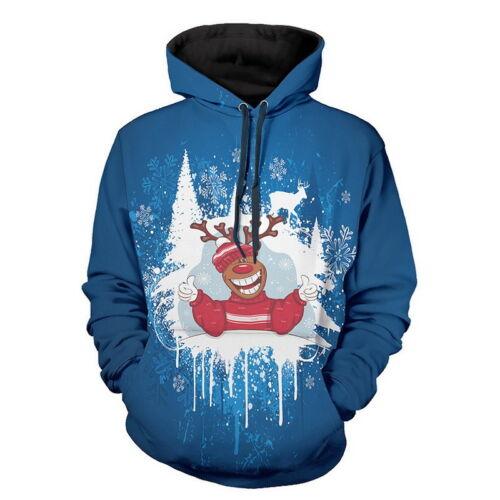 Winter Men Women Warm 3D Printed Santa Sweatshirt Pullover Jacket Tops Clothes